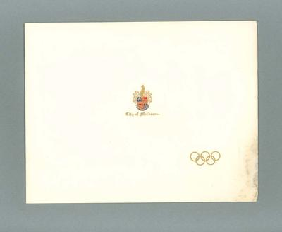 Invitation for Lord Mayor of Melbourne IOC banquet, 20 November 1956