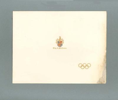 Invitation to opening of 1956 Olympic Games arts festival, 17 November 1956