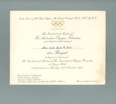 Invitation to Lord Mayor of Melbourne IOC banquet, 22 November 1956; Documents and books; 1987.1627.351