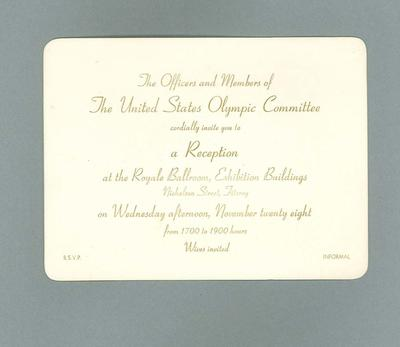 Invitation to United States Olympic Committee reception, 28 November 1956; Documents and books; 1987.1627.353