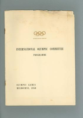Programme of International Olympic Committee for 1956 Olympic Games