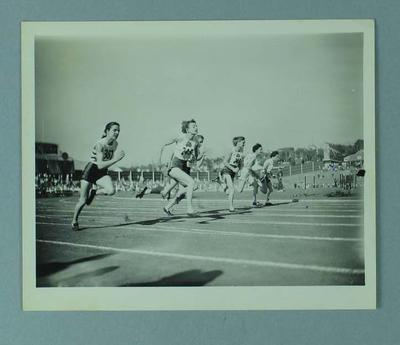 Photograph of the women's 100 yard final, 1954 British Empire and Commonwealth Games