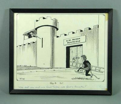 Framed political cartoon showing Brian Dixon approaching Pentridge Prison