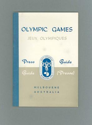 Press guide booklet for 1956 Olympic Games