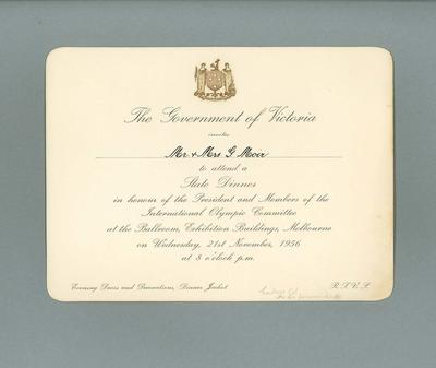 Invitation to Government of Victoria State Dinner, 21 November 1956