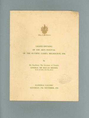 Programme, Grand Opening of 1956 Olympic Games Arts Festival