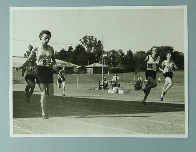 Photograph - depicts closing stages of 220 yards sprint final, Australian Women's Track & Field Championships - Perth 1954