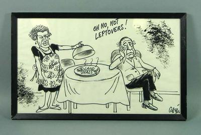 Framed black texta cartoon by Collette of  Dick Hamer and Brian Dixon