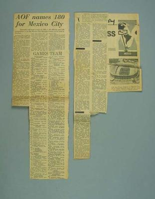 Newspaper clippings, related to 1968 Mexico City Olympic Games
