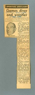 Newspaper clipping of interview with Harry Morris, 15 Sept 1955; Documents and books; 1995.3108.339
