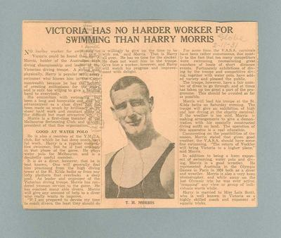 Newspaper clipping of interview with Harry Morris, 2 Nov 1931; Documents and books; 1995.3108.338