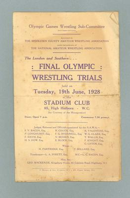 Programme for London and Southern Olympic Wrestling Trials, 19 Jun 1928