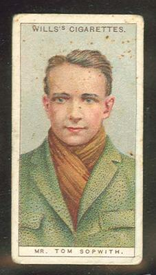 Trade card featuring Tom Sopwith c1930s