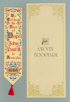 Woven bookmark, 1986 Papal Visit