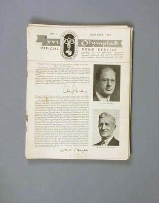 Newsletters, XVI Olympiad Official News Service, nos 1-13
