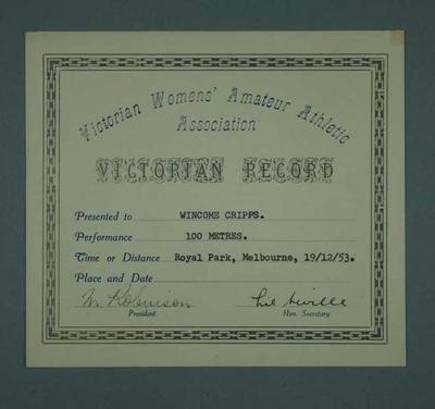 Certificate awarded to Winsome Cripps, VWAAA Victorian Record - 100 metres, 19 Dec 1953