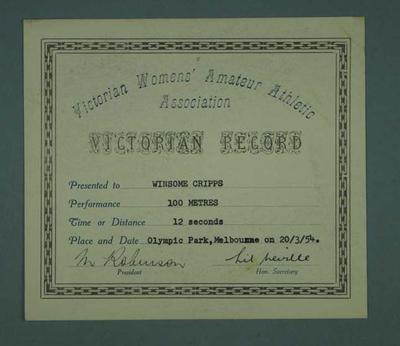 Certificate awarded to Winsome Cripps, VWAAA Victorian Record - 100 metres, 20 Mar 1954
