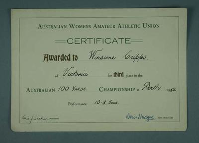 Certificate awarded to Winsome Cripps, Australian Championship 100 yards third place - Perth 1954