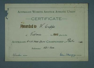Certificate awarded to Winsome Cripps, Australian Championship 4x110 yards third place - Perth 1954
