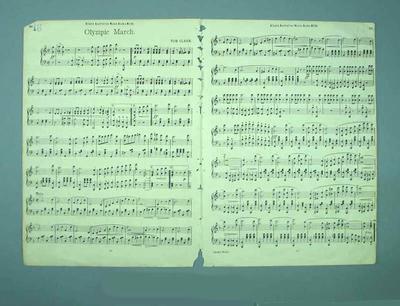"Sheet music, ""Olympic March"" - written by Tom Clark"