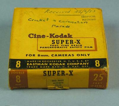 8mm film of cricket and coronation parade, 1953