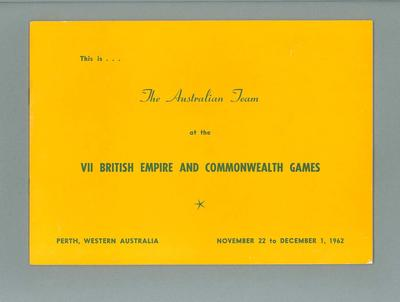Booklet, Australian team at 1962 Commonwealth Games