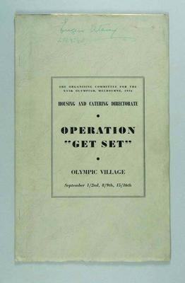 """Programme for Operation """"Get Set"""", 15-16 Sept 1956"""