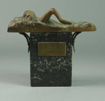 Trophy won by Harry Morris, Melbourne Swimming Club Tower Diving Champion 1940-41