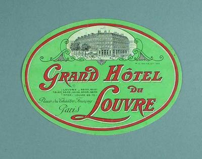 Sticker, Grand Hotel du Louvre in Paris c1930s