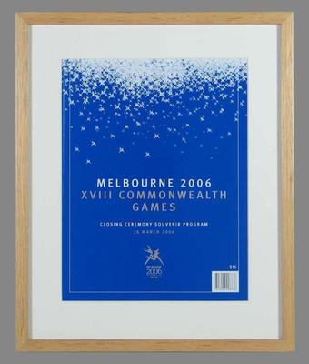 Programme - Closing Ceremony XVIII Commonwealth Games, 2006 Melbourne