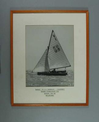 Framed black and white photograph cadet dinghy 'Margo', winner Stonehaven Cup Melbourne 1961-62 season.; Photography; 2006.4586