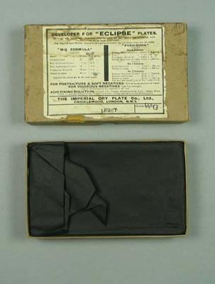 """Box containing four glass """"Eclipse' photographic plates - The Imperial Dry Plate Co. Ltd., box stamped 18287,"""