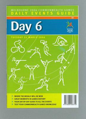 Programme - Events on Day 6 at the 2006 Melbourne Commonwealth Games