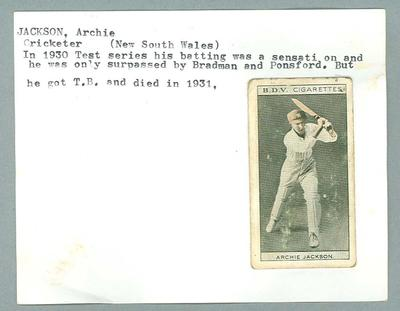 Trade card featuring Archie Jackson, BDV Cigarettes c1930s