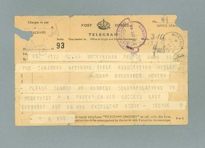 Telegram from King George VI to Percy Pavey - King's Prize Winner  July 1948