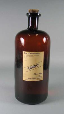 "Glass bottle of ""LINBRO"", c1930s"
