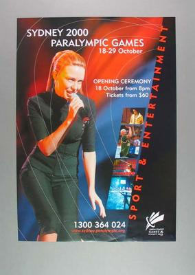 Poster, Sydney 2000 Paralympic Games - Opening Ceremony
