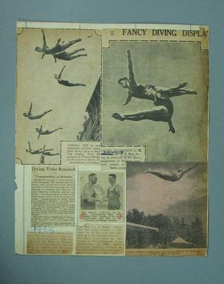 Scrapbook page, material associated with Allan Mott diving c1930s