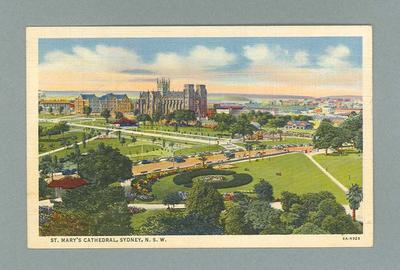 Postcard depicting St Mary's Cathedral in Sydney, c1930s
