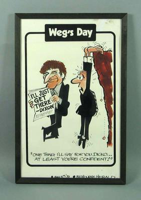 Framed political cartoon by WEG showing Brian Dixon reading a newspaper