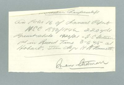 Pencilled handwritten note, signature Ivan Stedman, addendum to information in Melbourne Swimming Club booklet 1893-1946; Documents and books; 1986.1263.25.2