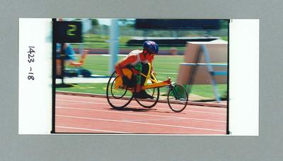 Photograph of Lachlan Jones during 100m T32 race, 1996 Atlanta Paralympic Games; Photography; 1998.3393.4