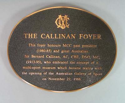 Plaque celebrating Bernard Callinan, from the foyer of the Australian Gallery of Sport & Olympic Museum