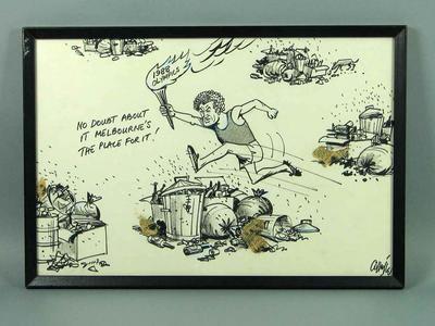 Framed black texta cartoon by Collette  of Brian Dixon, Melbourne's 1988 Olympics Bid