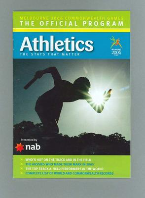 Programme - Athletics at the 2006 Melbourne Commonwealth Games