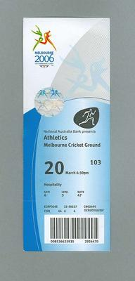 Ticket - Athletics events - 20 March 2006 Melbourne Commonwealth Games