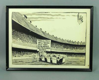 Framed photocopied cartoon showing the Olympic Games for Melbourne Committee at MCG