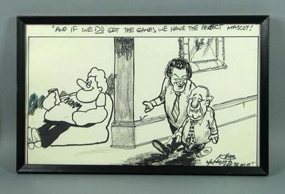 Framed pen and ink cartoon about Melbourne's 1988 Olympics Bid, showing Brian Dixon, Rupert Hamer and 'Norm'.