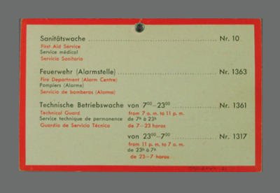 Service information card, 1936 Olympic Games