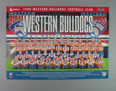 Poster of 1998 AFL Western Bulldogs Football Club Team players